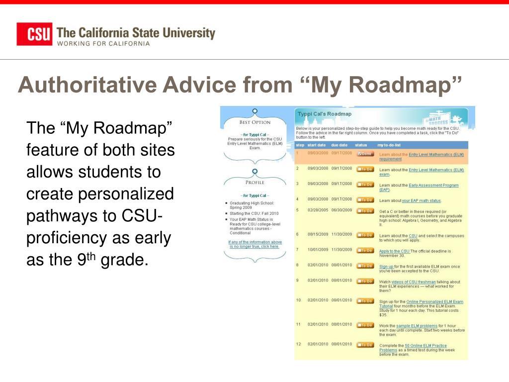 "Authoritative Advice from ""My Roadmap"""