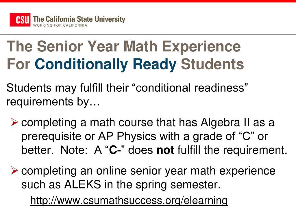 The Senior Year Math Experience