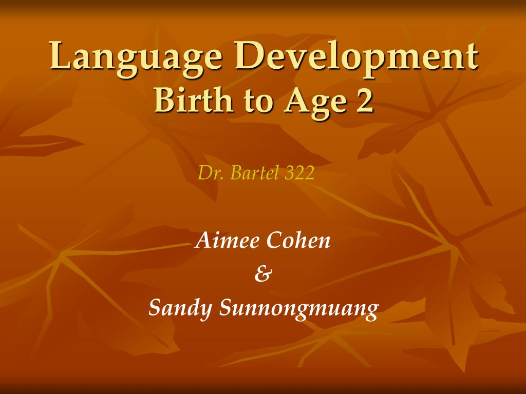 language development birth to age 2 l.