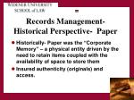 records management historical perspective paper