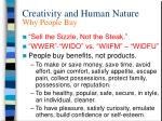 creativity and human nature why people buy