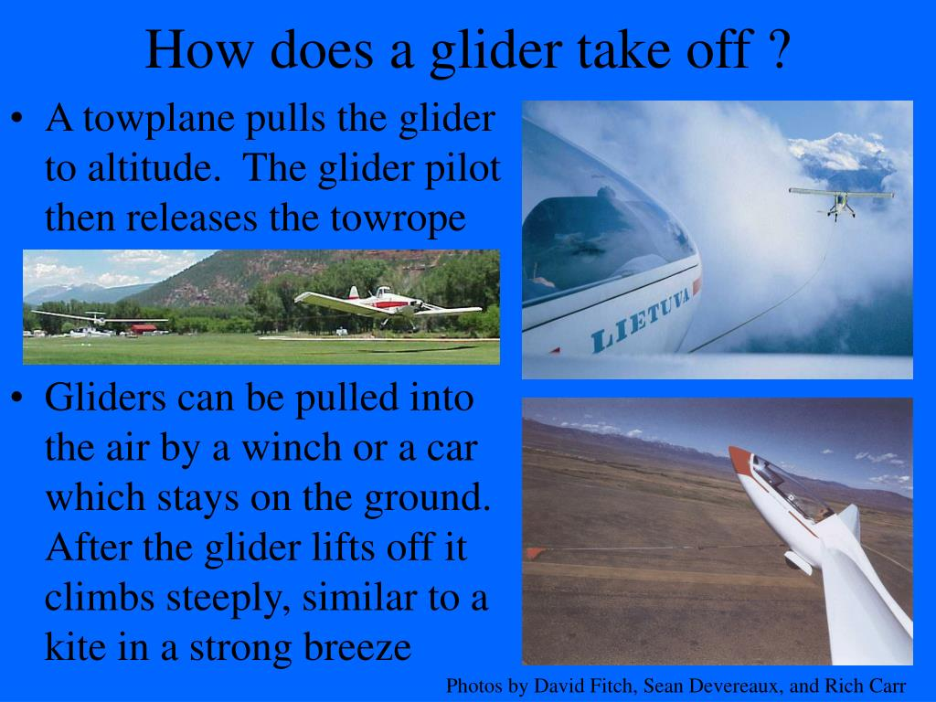 how does a glider take off l.