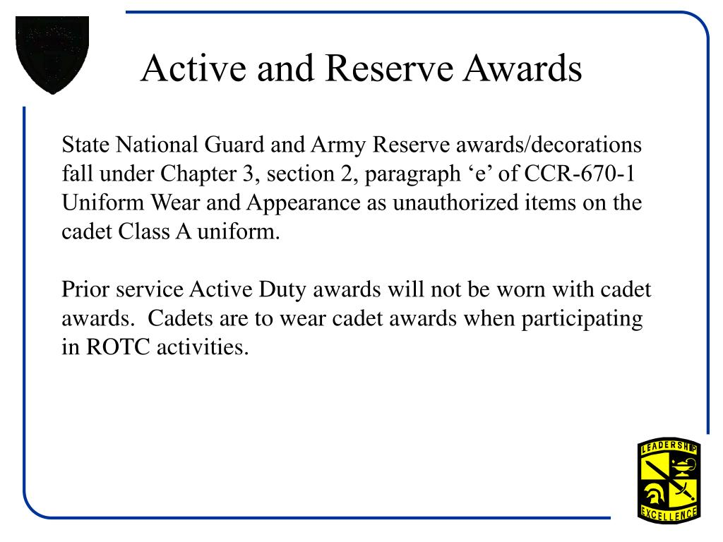 Active and Reserve Awards