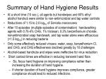 summary of hand hygiene results