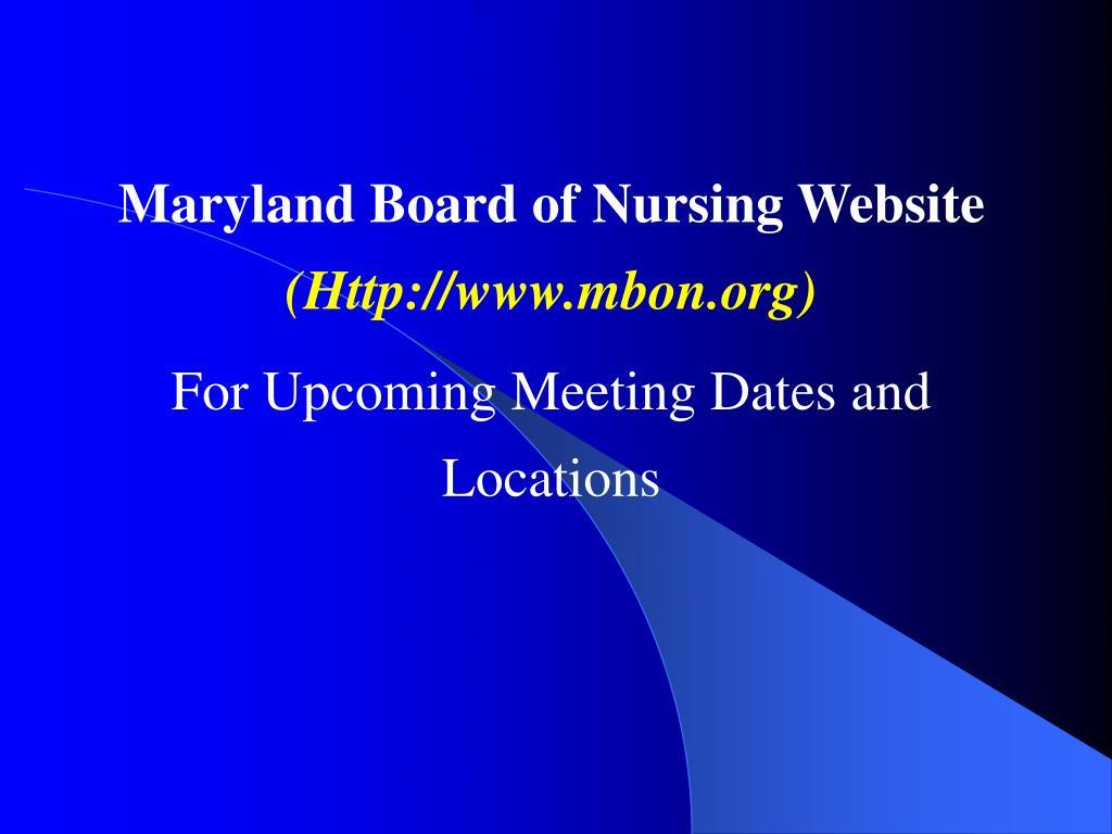 Maryland Board of Nursing Website