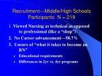 recruitment middle high schools participants n 219