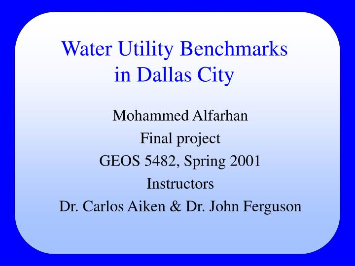 water utility benchmarks in dallas city n.