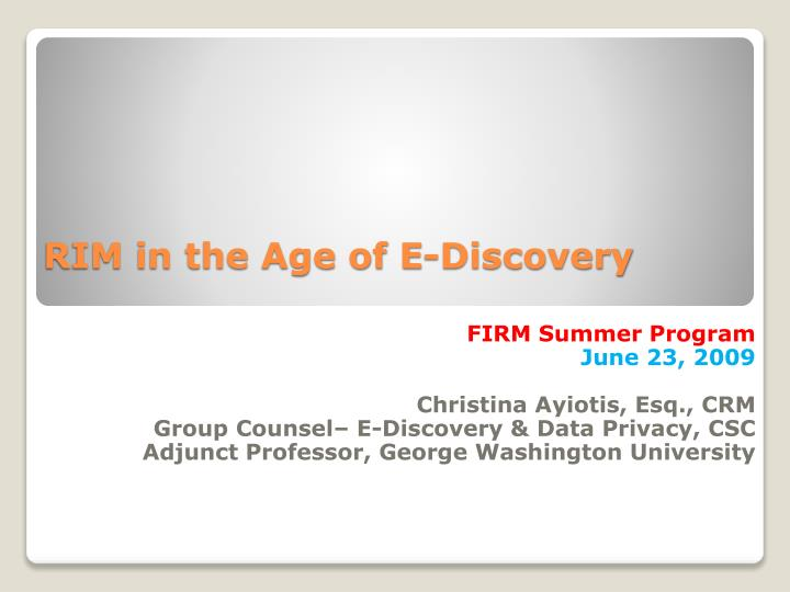 rim in the age of e discovery n.