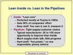 lean inside vs lean in the pipelines