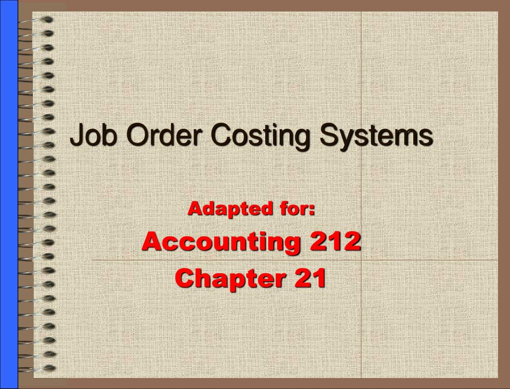 job order costing systems l.