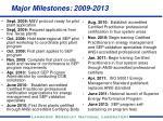 major milestones 2009 2013
