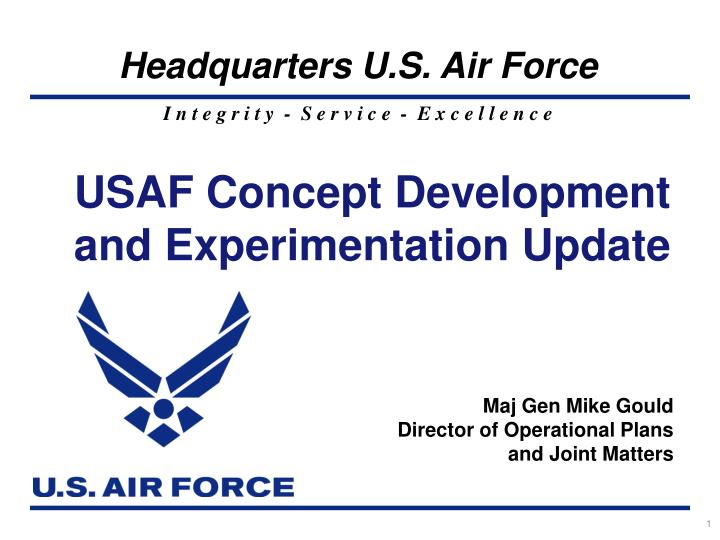 usaf concept development and experimentation update n.
