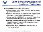 usaf concept development goals and objectives