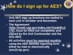 how do i sign up for aex