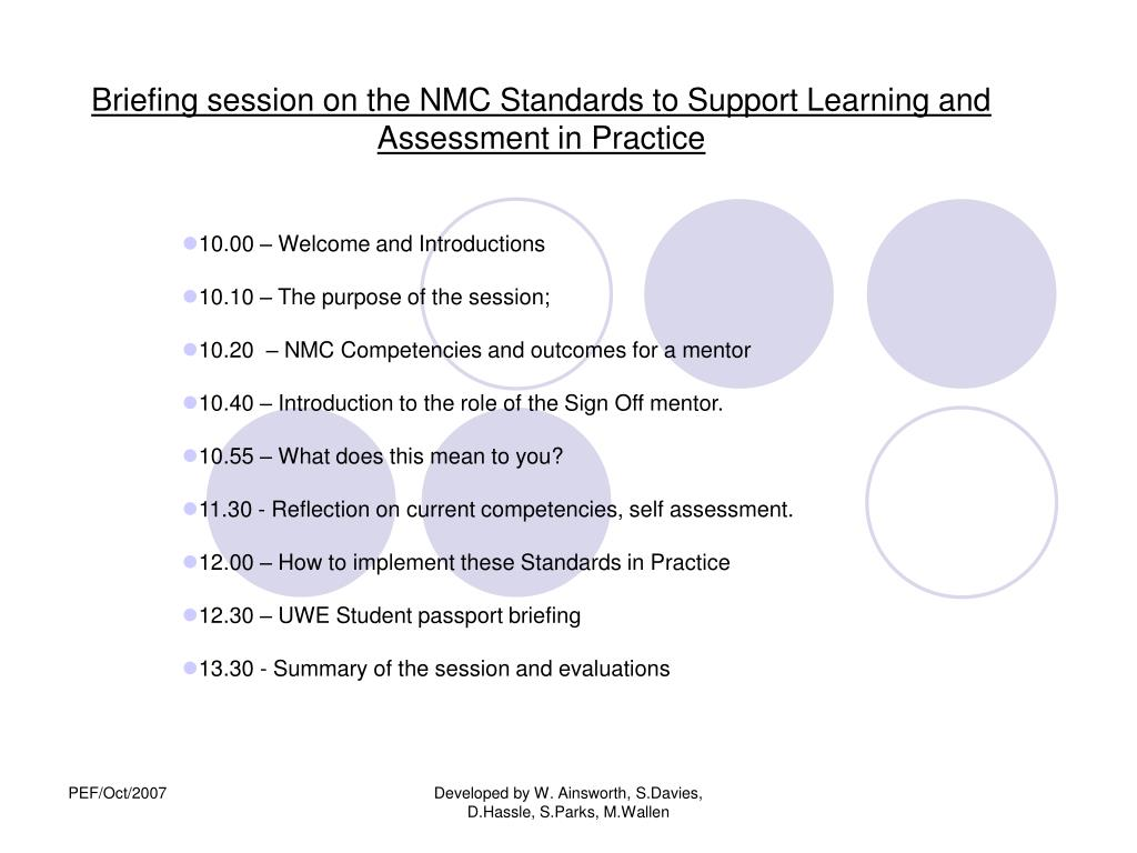 briefing session on the nmc standards to support learning and assessment in practice l.