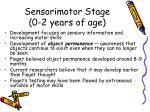 sensorimotor stage 0 2 years of age