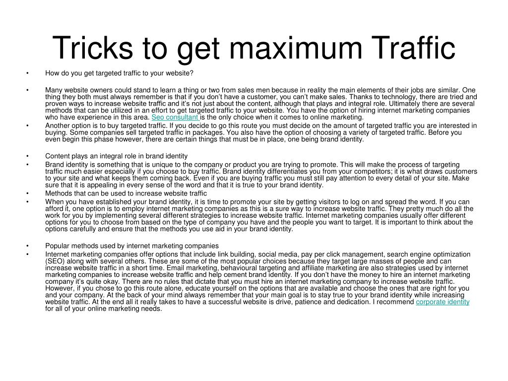 tricks to get maximum traffic l.