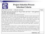 project selection process selection criteria21