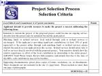 project selection process selection criteria22