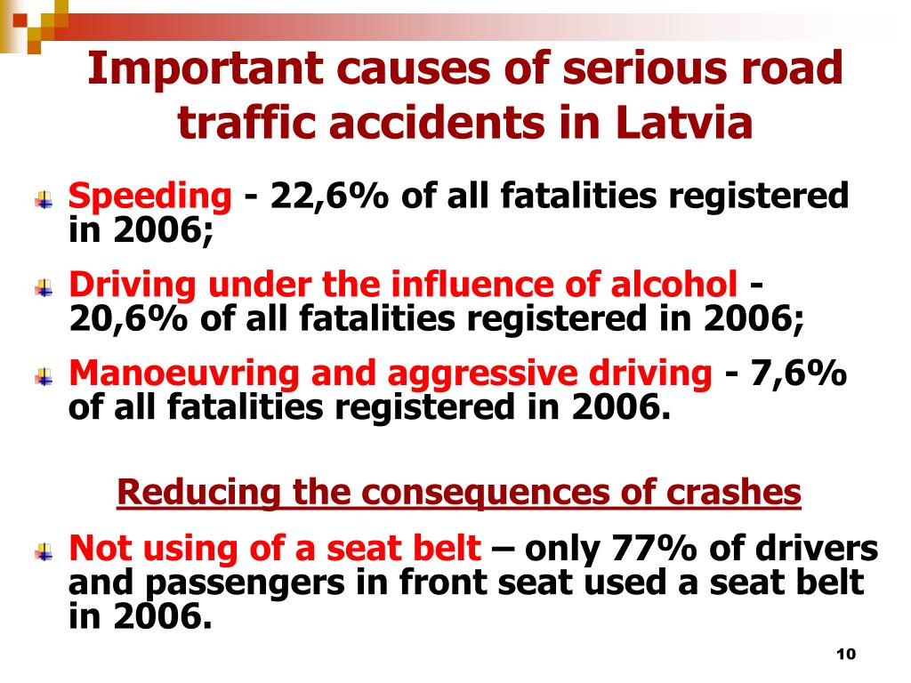 Important causes of serious road traffic accidents in Latvia