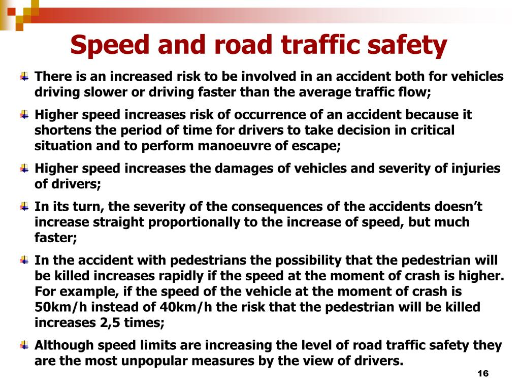 Speed and road traffic safety