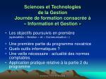 sciences et technologies de la gestion journ e de formation consacr e information et gestion