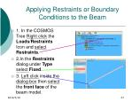 applying restraints or boundary conditions to the beam