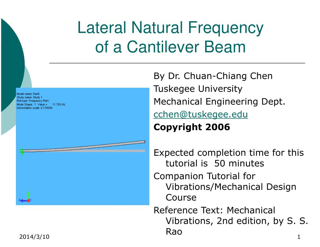 lateral natural frequency of a cantilever beam l.