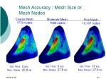 mesh accuracy mesh size or mesh nodes