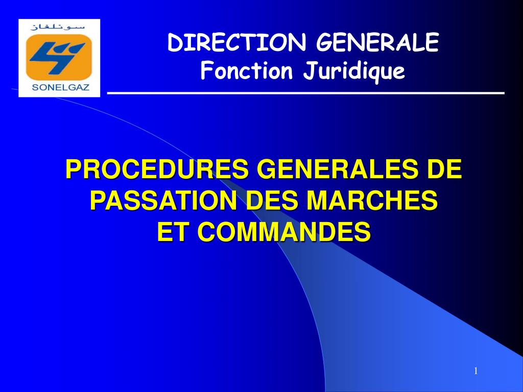 procedures generales de passation des marches et commandes l.