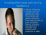 is eating pork meat safe during epidemics