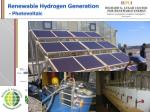 renewable hydrogen generation photovoltaic
