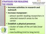 strategies for realizing the vision