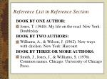 reference list in reference section