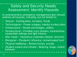 safety and security needs assessment identify hazards