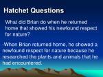 hatchet questions34