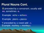 plural nouns cont