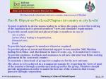 part b objectives for local chapters at country or city levels