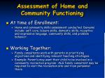 assessment of home and community functioning