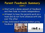 parent feedback summary cont