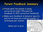 parent feedback summary