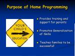 purpose of home programming