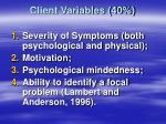 client variables 40