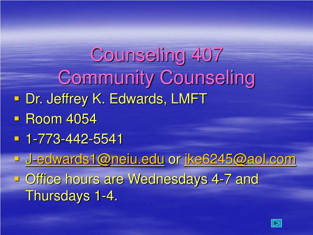 counseling 407 community counseling l.