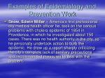 examples of epidemiology and prevention work