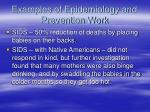 examples of epidemiology and prevention work67