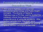 examples of epidemiology and prevention work68