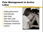 pain management in active labor
