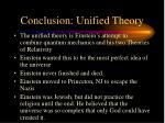 conclusion unified theory