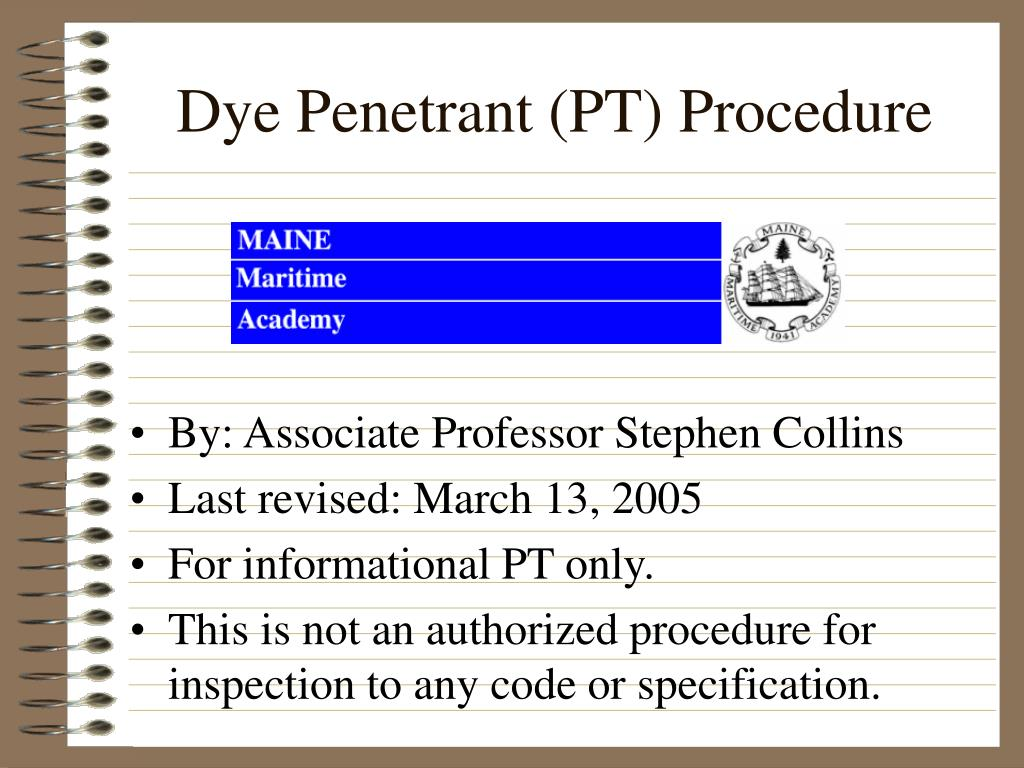 dye penetrant pt procedure l.